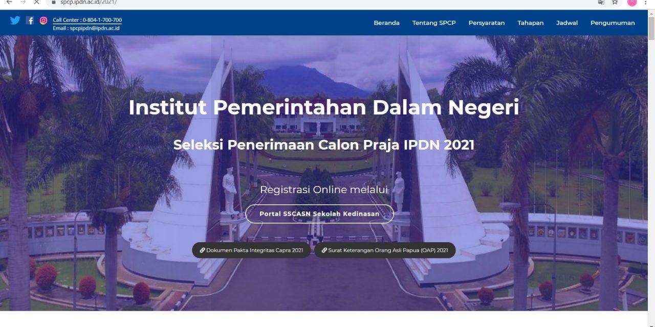 INFORMASI PENDAFTARAN IPDN TAHUN 2021   SMA NEGERI 3 JAYAPURA